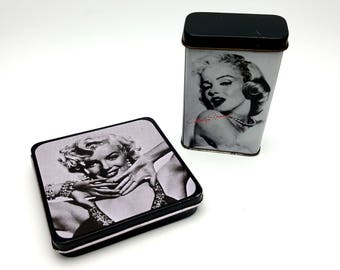 Two Small Marilyn Monroe Tin Boxes Norma Jean Retro Style Metal Jewelry Box Black and White Glamorous Hollywood Creation F. Nugeron Paris