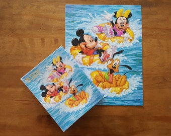Mickey Minnie and Pluto Water Tubing Puzzle 100 piece Vintage 90s Fully Interlocking Brilliant Color The Walt Disney Company Made in USA