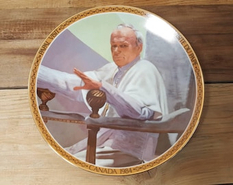 Vintage Papal Visit Canada 1984 Collectible Plate His Holiness Pope John Paul II Religious Gift for Christians Catholics Viletta