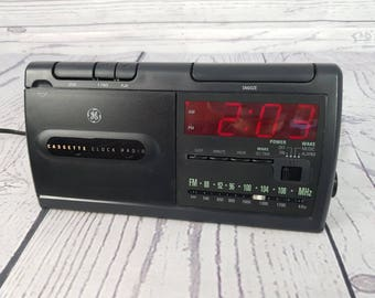 Vintage 80s Triangle General Electric Cassette Clock Radio Alarm Clock Player Bedside Electronic Digital Display Tape Model 7-4915A