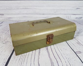 Vintage Metal Box Rustic Retro Khaki Green Industrial Steampunk Antique Garage Decor Farmhouse