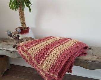 "Vintage Rustic Afghan Crochet Knit Throw Blanket / 32"" x 86"" / Couch Living Room Cabin Rustic / Bedding Bed Coverlet Pink Beige"