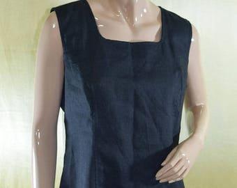 Vintage Cyrillus women vest waistcoat black linen