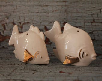 White and Gold ceramic fish salt and pepper shakers
