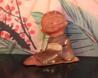 Vintage UTCTI red clay Asian girl 1970's