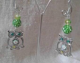 """green floral OWL"" earrings"