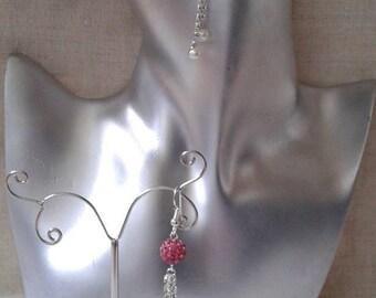 """Earrings """"rhinestone chain and pink"""""""