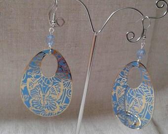 Earrings oval blue butterflies