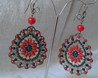 Oriental earrings red and blue