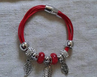 "bracelet ""leaf and beads red"""