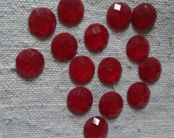 set of 30 red faceted resin cabochons
