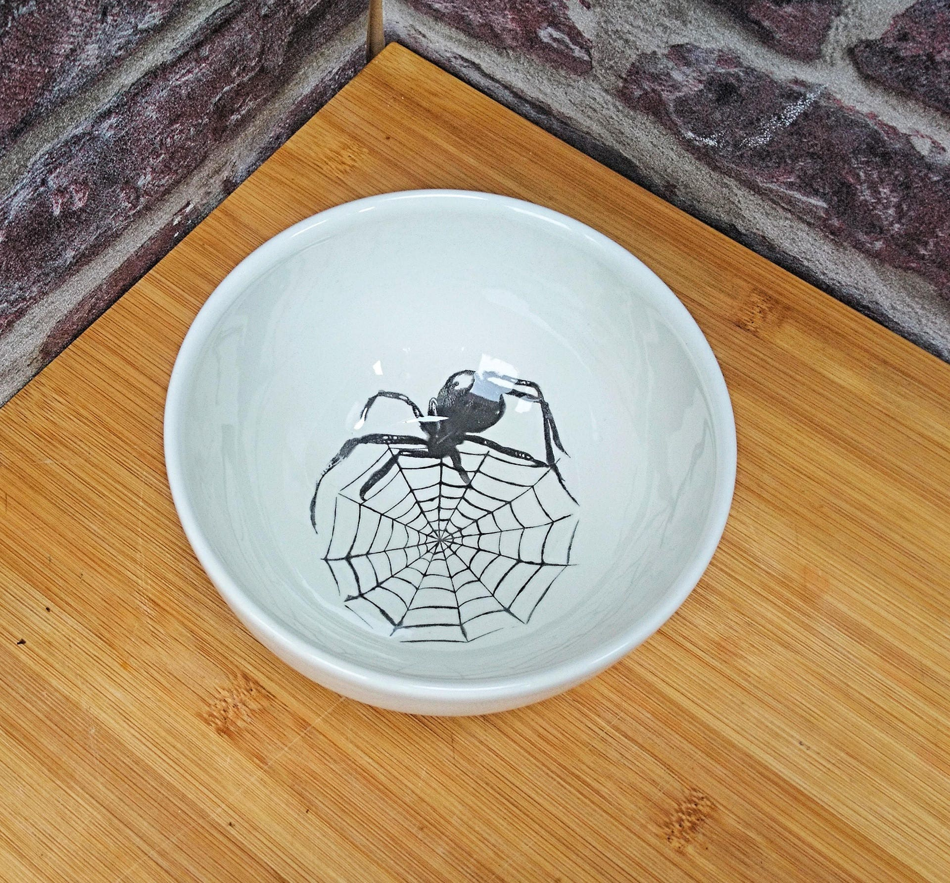 Creepy Halloween Bowl, Spider Cereal Dish, Spiders Web ...