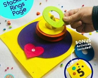 Stacking Rings Quiet Book Page for TinyFeats Busy Book- Best Childrens Books - Educational Toys for 1 year old - STEAM Activity for Babies