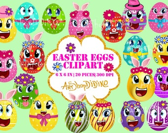 Easter Eggs Clipart, Easter Clipart, Eggheads, Feelings Clipart, Emoji, Emoticons Clipart, Easter Egg Hunt Clipart, Easter Bunny Clipat,