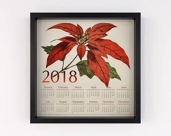 Square calendar 2018, Poinsettia calendar, Calendar printable 2018, Christmas flower, Botanical vintage, Holiday seasonal, Calendar download