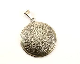 Aztec pendant etsy vintage large aztec mayan calendar pendant 925 sterling silver pd 1725 mozeypictures Images