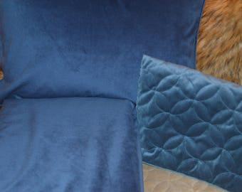 Sapphire Navy Cottonrich Velvet Duvet, Soft Luxurious Upholstery Velvet, smooth surface velvet tailored with piping all seams,zipper closure