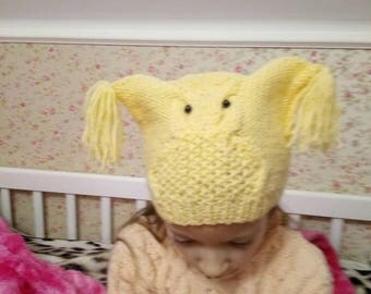 Owl Spring autumn hat, hand knitted