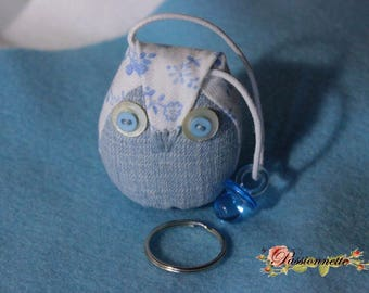 Little OWL keychain or deco purse in denim