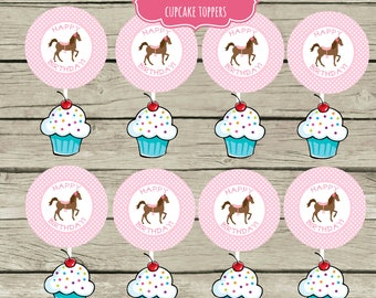 INSTANT Pony Cupcake Toppers Saddle Up Party Circle Stickers Party Labels Favor Tags Treat Bag Birthday Pink Horse Party Horseback Riding