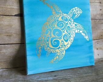 Turtle decor, sea turtle art, watercolor canvas, under the sea wall decor, office decor, kids room decor,  bathroom decor