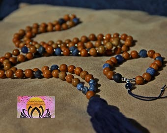 Mala Beads-Woodgrain Jasper, Sodalite, Silver Mala-108 Beads-Gemstones-Tassel Necklace-Yoga Meditation-Handmade-Energised