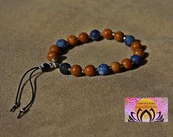 Woodgrain Jasper Sodalite Wrist Mala with Silver-Gemstones-Beaded Bracelet-Stacking Bracelet-Yoga Jewellery-Meditation-Boho-Intention