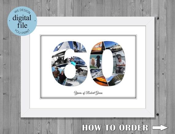60 geburtstag geschenk 60 geburtstag nummer foto fotocollage. Black Bedroom Furniture Sets. Home Design Ideas