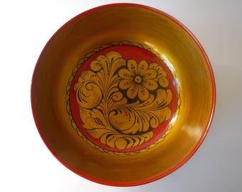 Vintage Russian Lacquer Khokhloma Folk Art Bowl Gold Red Black Floral Made in USSR