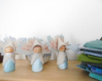 Set Of 3 Leaf Faeries in Beautiful WinterTones Wooden Peg Doll Faerie Waldorf Inspired Hand Crafts