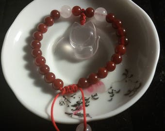 High Quality Natural Agate and Natural Rose Quartz (Fox) Beaded Chinese Red String Bracelet