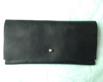 Black leather, silver clasp clutch
