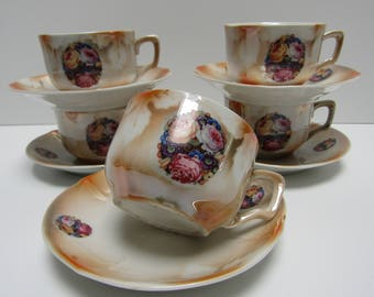 Coffee/tea cups with flowers/set of 5