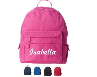 Custom Kids Backpack - Name on Backpack, Monogram Backpack Monogrammed, Black, Blue, Pink, Red Back Packs, Personalized Backpacks & Bookbags