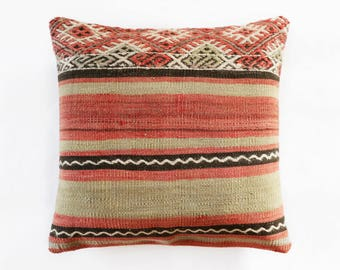 "Turkish Kilim Pillow, Kilim, Deco Pillow, Boho Pillow, Aztec Pillow, Nomadic Pillow, Ikat Pillow, Suzani Pillow Kilim 45 x 45 cm / 17"" x 17"""