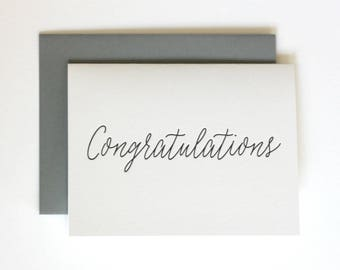 Congratulations - Wedding / Graduation  Letterpress greeting congratulations card