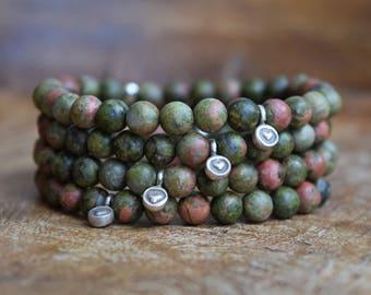 Unakite / Mala Bracelet / Hill Tribe Silver / Sterling Silver / Heart Charm / Friendship Bracelet / Healing Bracelet /