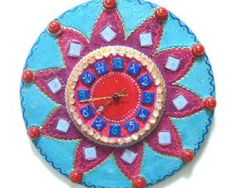 """Blue meringue"" clock diameter 42 cm mosaic painting enamel beads"