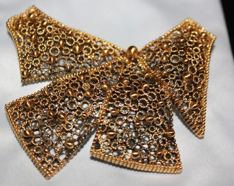 Large Gold Christmas Bow Pin Brooch