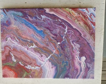 Fluid Painting, Acrylic Pour, Dirty Cup Pour, 9x12 Canvas Painting