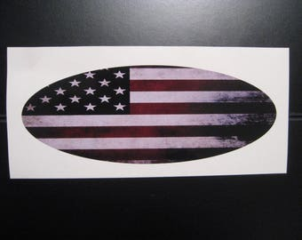 2005 thru 2014 Ford F150 Old Torn Distressed Faded American Flag Grille Tailgate Vinyl Decal Oval Emblem Overlay