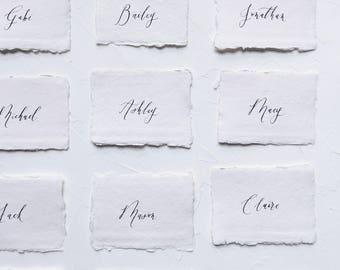 Handmade Paper Place Cards / Organic Calligraphy Escort Cards