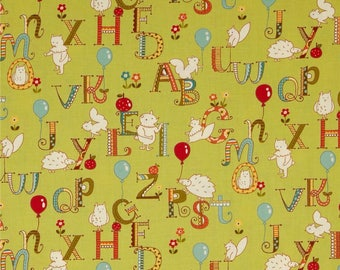 Green kids patchwork alphabet with animals by MODA fabric