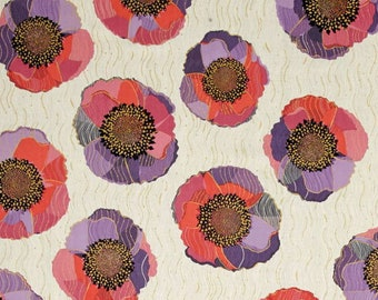 White, pink and lilac patchwork Bellisima poppy by Quilting treasures fabric