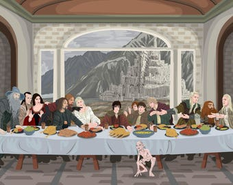 """Last Supper """"Lord of the Rings"""" Art Print"""