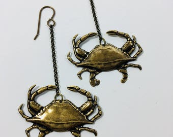 Crabby Crab Brass Pressing Drop Earrings in Silver Plate or Brass by Ten Dollar Studio. Where everything is always Ten Dollars