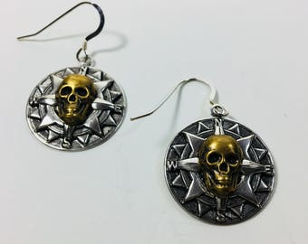 Skull Compass Earrings by Ten Dollar Studio where all items are always Ten Dollars