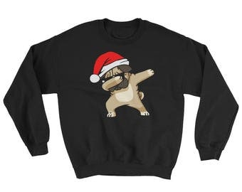 Christmas Dabbing Pug Sweater for Dog Lovers Christmas Dab Shirt Funny Dabbing Pug Dog with Santa Hat Sweatshirt