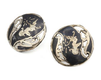 Antique 1930s Stud Earrings, Siam Filigree Earrings, 925 Sterling Silver, Gray Enamel Studs, Large Round Earrings, Asian Oriental Jewelry