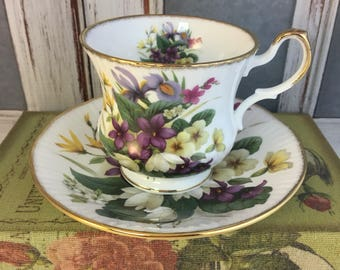 Queen's Purple Bouquet Orchid Dogwood Flowers Blossoms Tea Cup and Saucer Fine Bone China Vintage England Made Lovely EVC